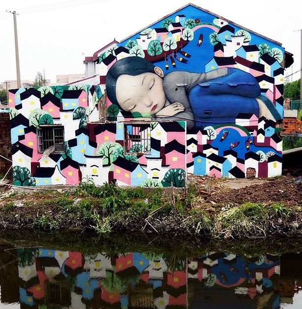 """Seth Globepainter - """"Tales from the countryside"""" (part 5) - """"The dream"""", collaboration with peasant local painters, Fengjing, China, April 2015 (https://www.instagram.com/p/1z0W0DsWow/?taken-by=seth_globepainter)"""