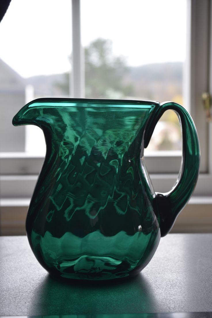 Magnor Emerald Green Glass Jug. Norway