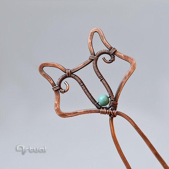 Fox hair fork wire hair pin wire wrap jewelry fox hair by Artual