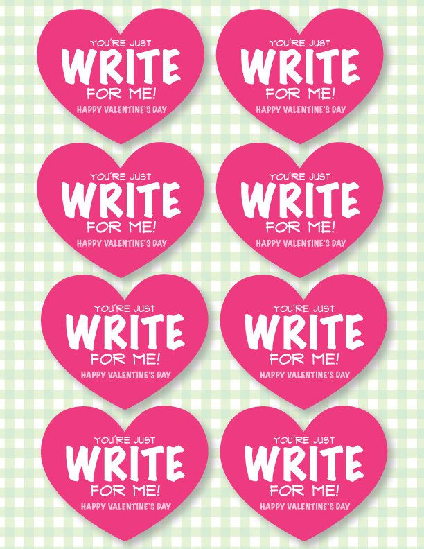 Valentine PRINTABLE 'You're Just Write for Me' Valentine ...