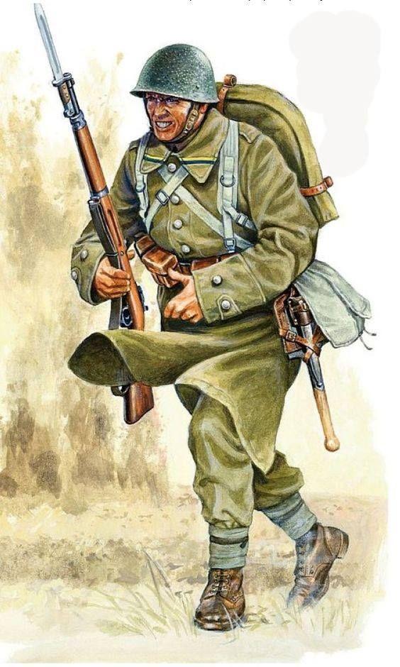 Wojna obronna Polski 1939  Polski żołnierz piechoty uzbrojony w karabin Mauser wz. 98 z bagnetem. Rys. Jarosław Wróbel.