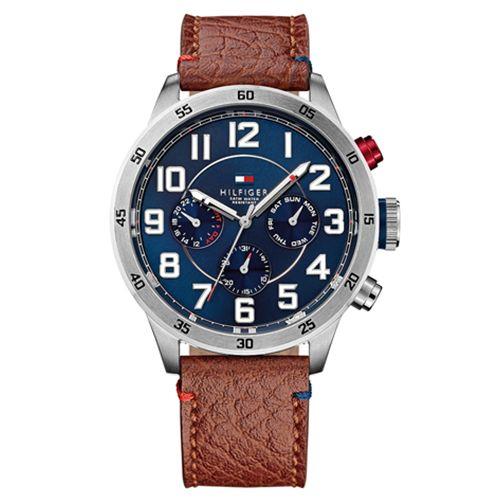 Relógio masculino Tommy Hilfiger com pulseira em Couro marrom e caixa redonda de aço - 1791066