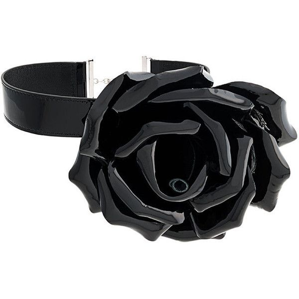 Saint Laurent flower choker ($920) ❤ liked on Polyvore featuring jewelry, necklaces, black, flower choker, genuine leather necklace, flower jewelry, leather choker necklaces and chain link necklace