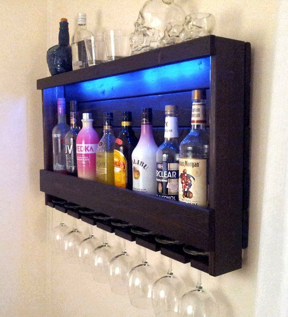 Wine Rack Rustic Liquor Cabinet With Battery Operated Led