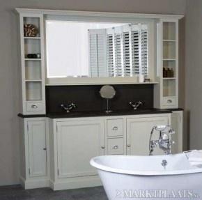 mooi landelijk badkamer meubel 220 cm breed met 2 waskommen in hardsteen blad massief hout  verkrijgbaar in 13 kleuren en 3 woodwash kleuren