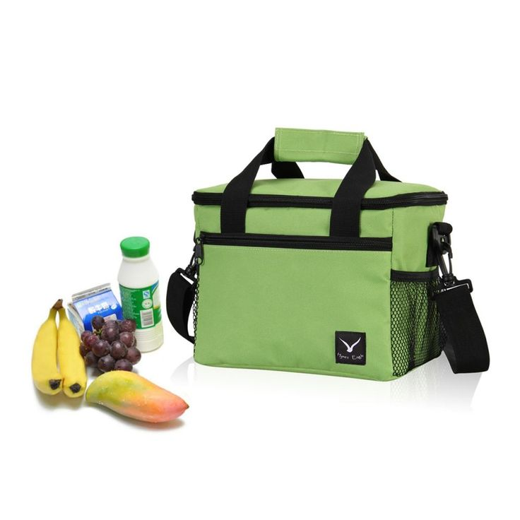 Lunch Cooler Bag 10-Can Insulated Lunch Bag Removable Strap Lightweight, Green #HynesEagle