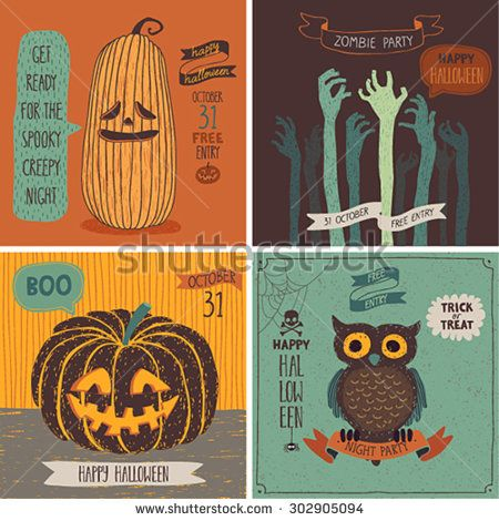 Halloween Cards set. Vector illustration. - stock vector