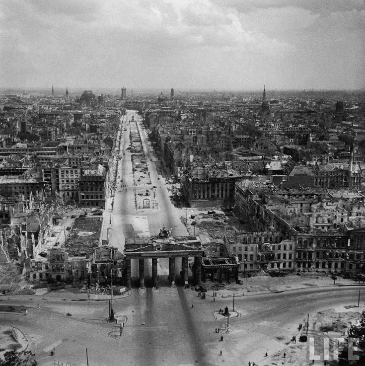 Berlin 1945 Excellent aerial view showing devastation and bombed out buildings over wide area of Communist, Russian controlled Berlin, extending north beyond its border of the Brandenburg Gate, following Allied capture of the city. Location: Berlin, Germany Date taken: July 1945