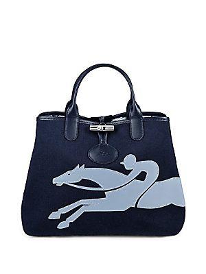 LONGCHAMP ROSEAU FLEURI COTTON HANDBAG. #longchamp #bags #shoulder bags #hand bags #leather #cotton #