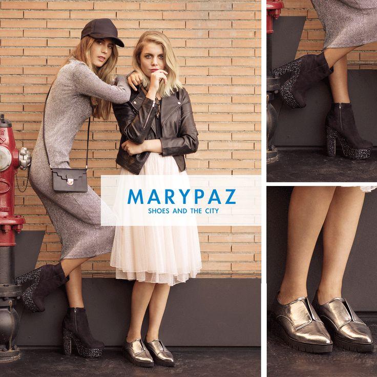 """Compartimos una foto de nuestra campaña """"SHOES AND THE CITY"""" inspirada en el estilo de vida urbanita, los streetstyles y tendencias internacionales y el incondicional amor por los zapatos <3 <3 <3  ►►► AHORA tienes un 15% dto. en estos dos zapatos que te mostramos tanto en nuestra amplia red de tiendas como en nuestra tienda online aquí > http://www.marypaz.com/"""