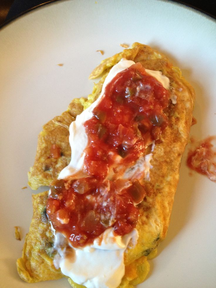 Southwestern Omelet: easy, fast, low carb and delicious!! 3 eggs, handful of spinach (tore into pieces), diced black olives, diced tomatoes, shredded cheese (half a handful) and garlic salt. Whisk ingredients together, cook on stovetop med-high heat- flip halfway through. Top with sour cream and salsa!!!  ~AN