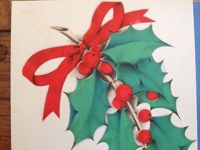 Vintage Hallmark Greeting Card Christmas Holly Berry Sprig USA