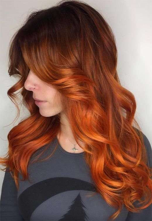 57 Flaming Copper Hair Color Ideas for Every Skin Tone   – Rotes haar