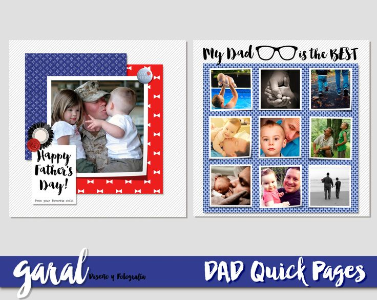FATHER'S DAY Quick Pages, Digital Scrapbook layout, dad QP, Quick  Page, png layouts, Photography, Premade Pages by marcegaral on Etsy