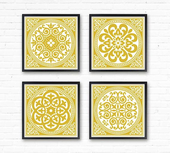 Mustard Poster Yellow Wall Art Set Of 4 Mustard Home Decor