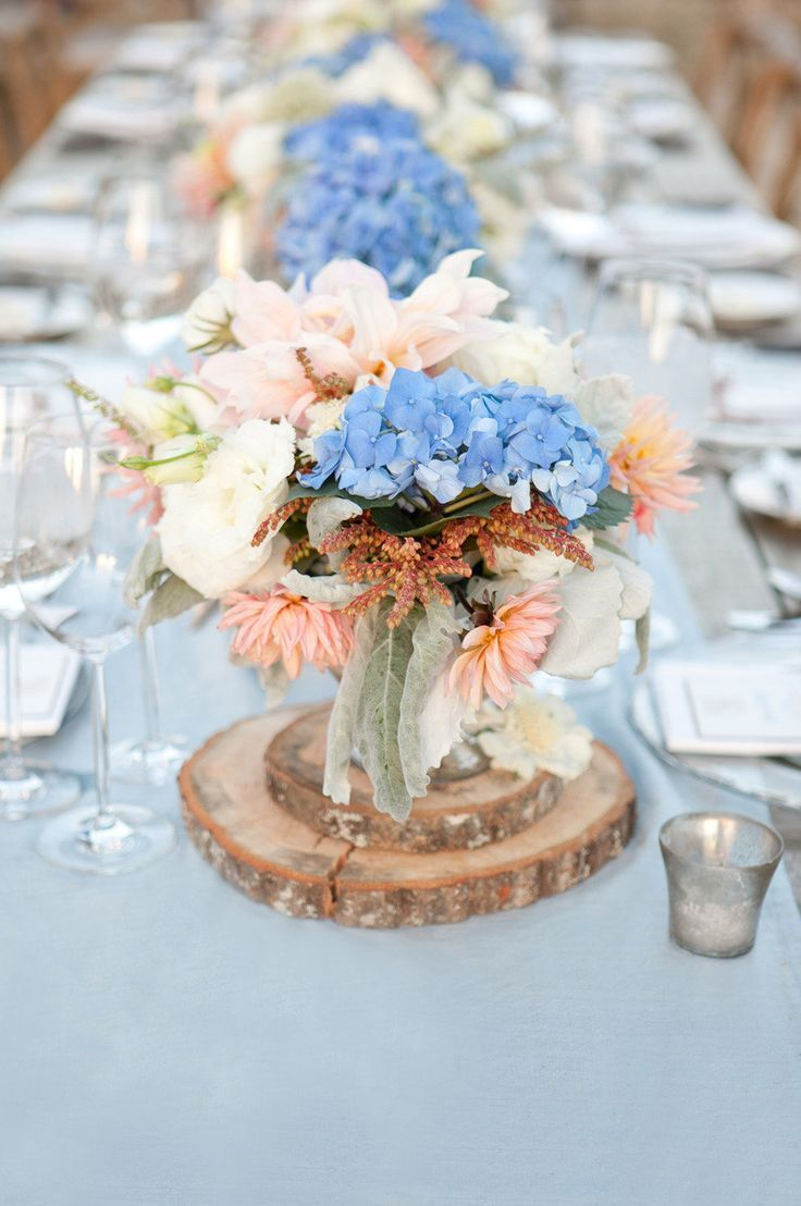Peach and blue hydrangea wedding table centrepieces - super pretty!