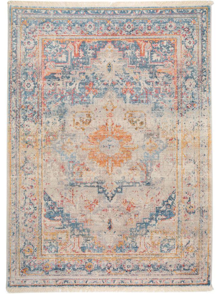Der wunderschöne Vintage Teppich Safira Blau lässt sich perfekt mit einer modernen Einrichtung kombinieren.