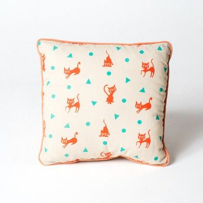 Coussin Nobodinoz carré Chat rouge