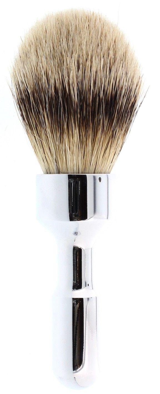 Merkur Futur Silvertip Badger Shaving Brush, Polished Chrome