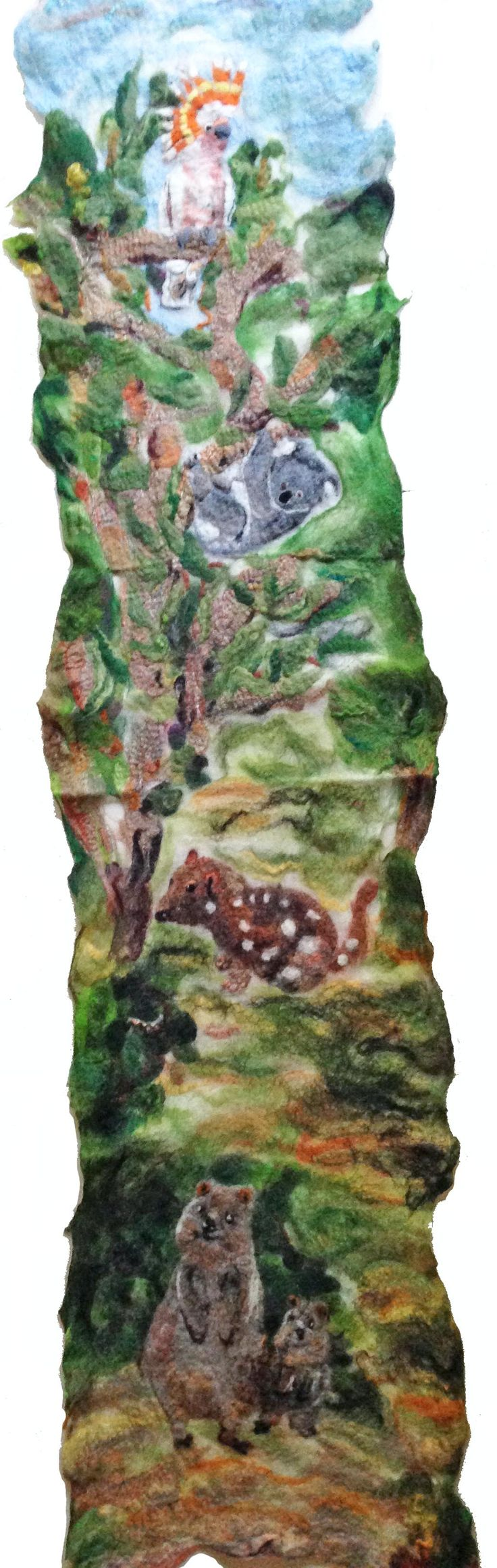 Felting featuring Australian birds and animals. Quokka at the bottom, followed by spotted quoll, Koala and Major Mitchell cockatoo