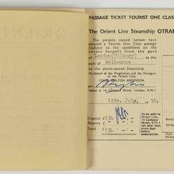 Passenger Ticket - Orient Line, SS Otranto, Issued to Mr & Mrs O. E. Pedersen, 12 Jul 1950