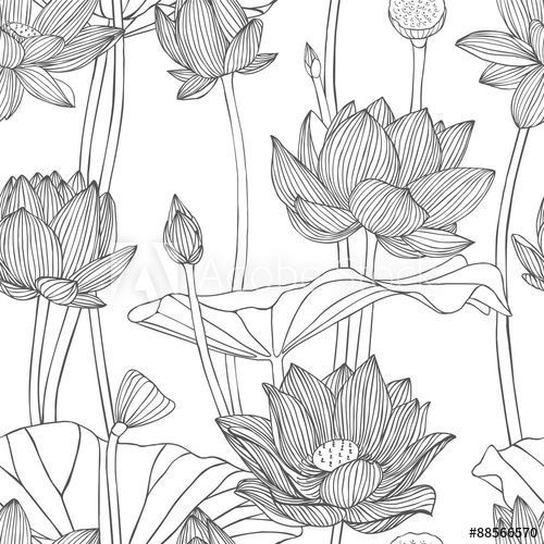 Linear seamless pattern - lotus flower.