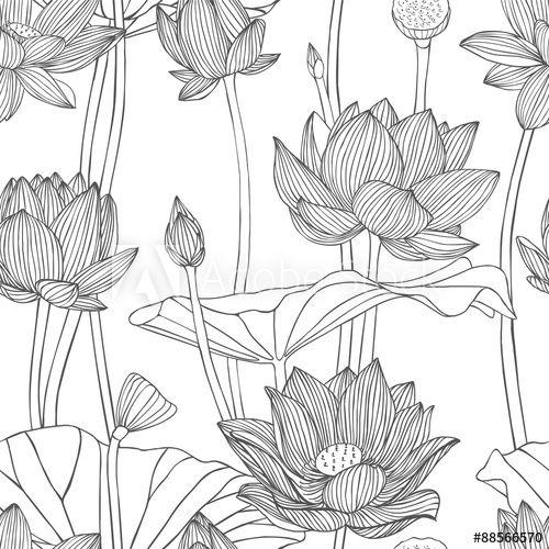 Linear seamless pattern - lotus flower.