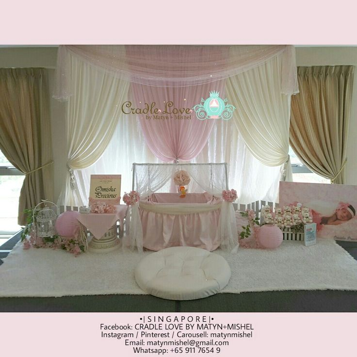 Bismillah. • • *Major throwback* • • For another non-Muslim customer, in the soothing pastel tones of Pink & Ivory. Thank u sis Rebecca & family for engaging us!❤❤ • • Event Date: Sat, 11th Mar 2017 Venue: Singapore Khalsa Association (indoor) Cradle: Standard Cradle Package: Package A (cradle decor only) Color Theme: #BabyPink + #Ivory  This package (Package A) includes: • Cradle Decor (choose from 6 different cradles) • 1 Mat for Marhaban* • 1 Mawar Renjis Set (scissors, bowl, etc)* • Free…