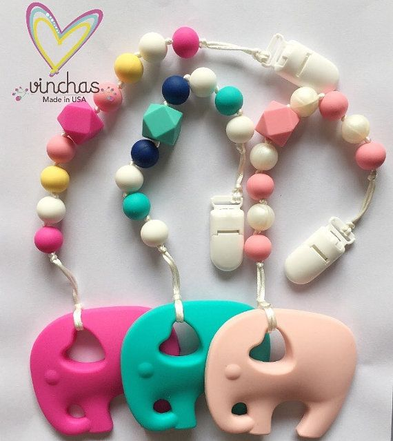 This listing is for silicone teething pacifier clips. We went through quite a few pacifiers while our little one used them. Clip on to babys outfit