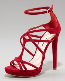 Gorgeous or what? MiuMiu Crisscross red strappy sandals from NeimanMarcus.com