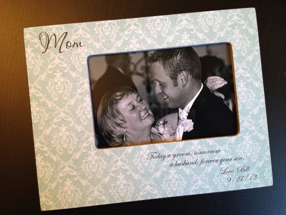 Mom Mother of the Groom Gift Mother Son Personalized Wood Wedding Picture Frame 4x6 Keepsake w/ Choice of Paper