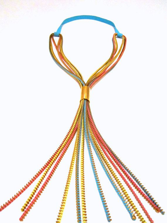 Colors Cascade Zippers Textile Gold Statement Necklace