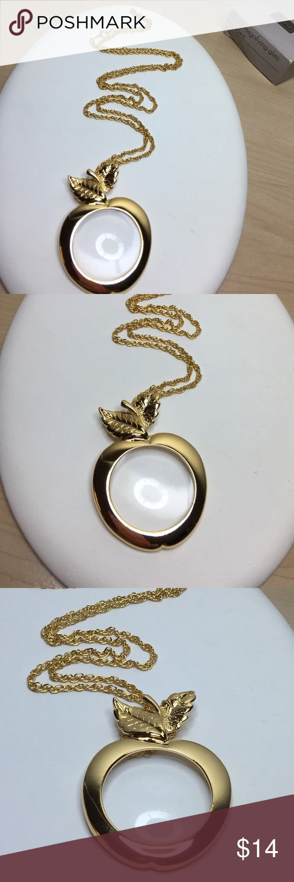 Selling this 🆕Vintage Avon Gold Apple Magnifying Glass Pendant on Poshmark! My username is: antiqueorunique. #shopmycloset #poshmark #fashion #shopping #style #forsale #Vintage #Jewelry
