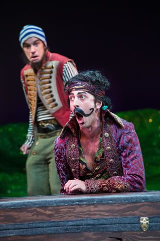 Aaron Galligan-Stierle (left) as Smee and Quinn Mattfeld as The Black Stache in the Utah Shakespeare Festival's 2013 production of Peter and the Starcatcher. (Photo by Karl Hugh. Copyright Utah Shakespeare Festival 2013.)