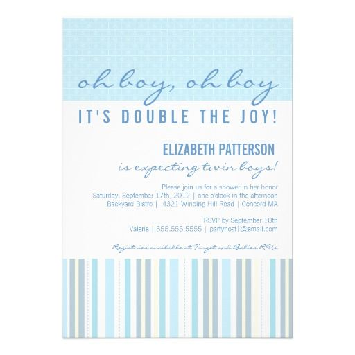 273 best Twins Baby Shower Invitations images on Pinterest Shower