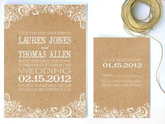 Wedding Invitation White Floral & Kraft Paper by twigsprintstudio, $2.75