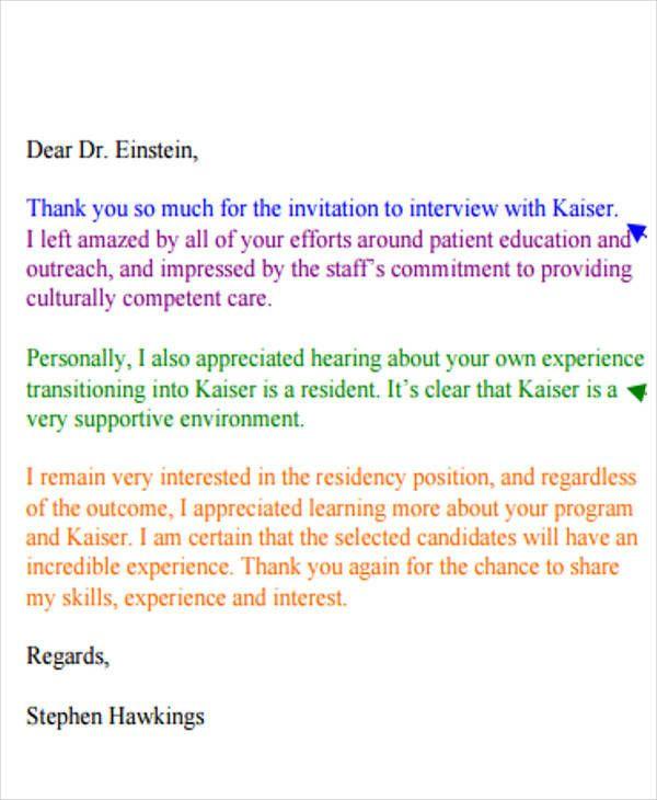 Thank You Letter For Residency Interview Elegant 40 Sample