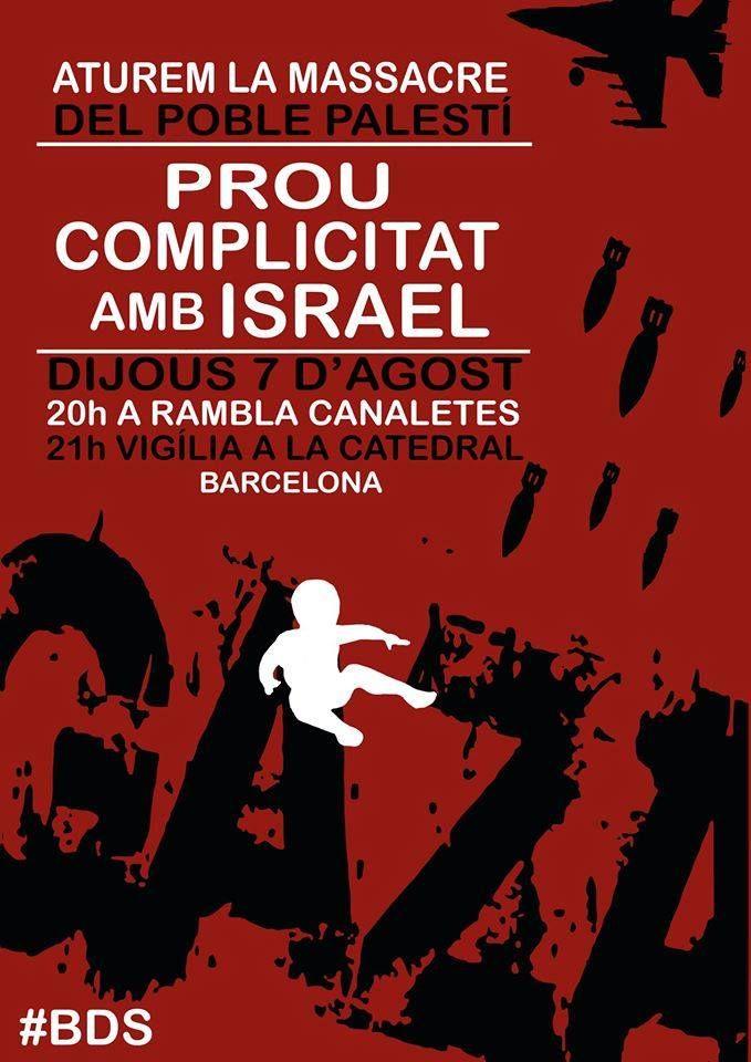 Aquesta tarda concentració a Barcelona contra la massacre d'Israel a Gaza
