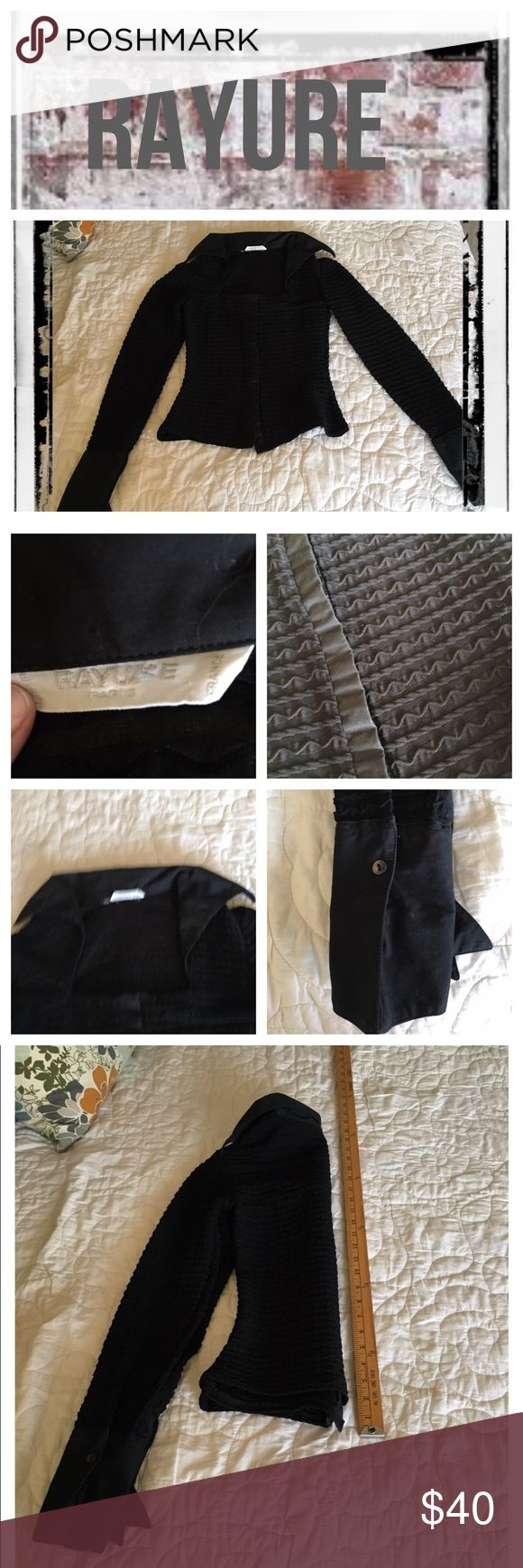 Rayure Paris black tuxedo button down top Gently worn, no flaws. Dry cleaned only.                 REASONABLE OFFERS ONLY- -Smoke and pet free - I try to stay around 75% off MSRP; please keep this in mind when making offers.  -I do not model anything; everything looks different on everyone and I don't wasn't too Jade that. I will provide measurements if needed.  -NO HOLDS, NO TRADES, POSH RULES ONLY! Rayure Paris Tops Button Down Shirts