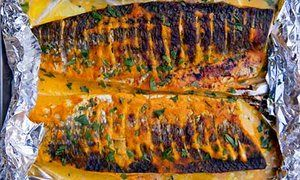 Tandoori grey mullet recipe. Skip oil and butter, bake on non stick paper