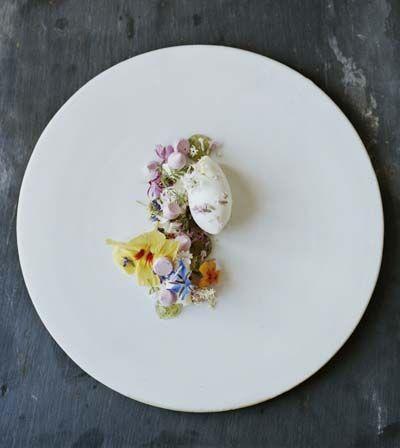 Elderflower mousse, rose hip meringue, violet syrup and yogurt sorbet