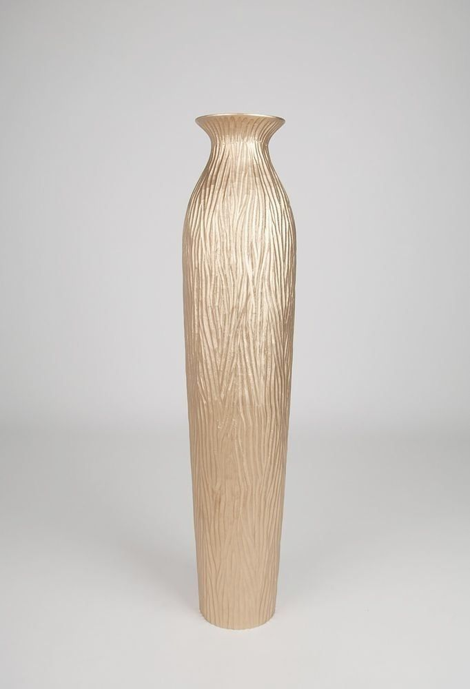 Tall Floor Vase 36 Inches Wood Gold Beautiful Large Wooden Vases