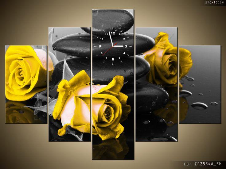 żółte róże - obraz z zegarem drukowany na płótnie