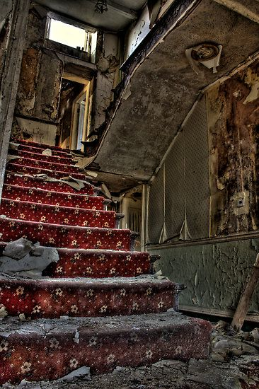The main stair case in the Marquis hotel, some one has been and stolen the beautiful Wooden spindles and bannister.