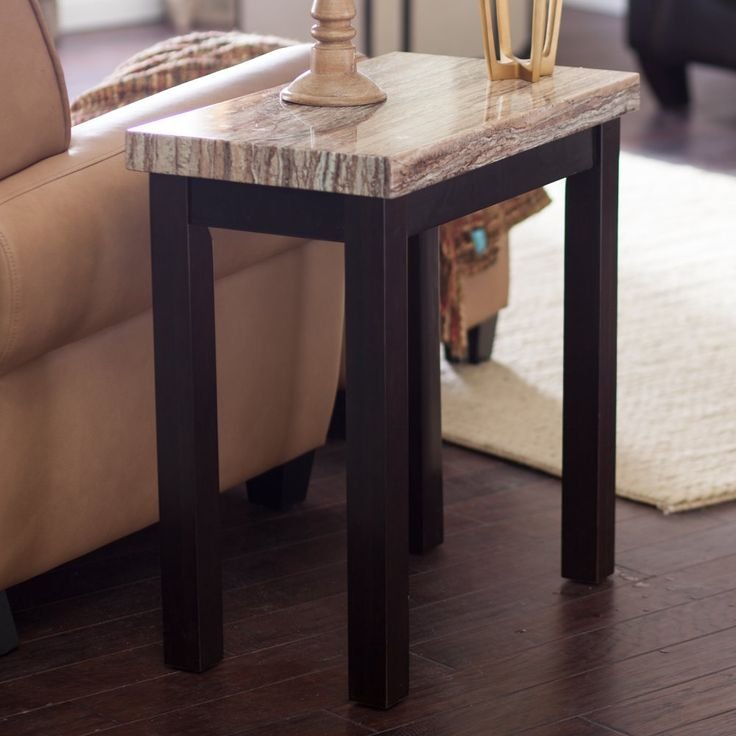 Carmine Faux Marble Chair Side Table - End Tables at Hayneedle