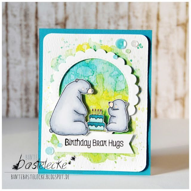 Bunte Bastelecke: Watercolored background for the Birthday Bears
