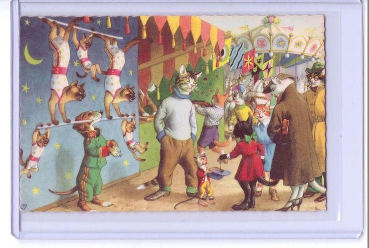 Alfred Mainzer anthropomorphic Gatos vestida em um cartão postal de Circo # 4865 Bélgica in Colecionáveis, Cartões postais, Animais | eBay