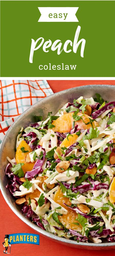 Easy Peach Coleslaw – Perk up your summer coleslaw recipe with this fresh side dish. The sweet addition of peaches makes this salad standout at your potluck in just 15 minutes.