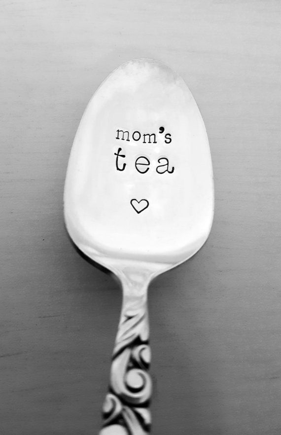Mom's Tea Spoon Hand Stamped Spoon Gift for Mom, Tea Spoon by SweetMintHandmade