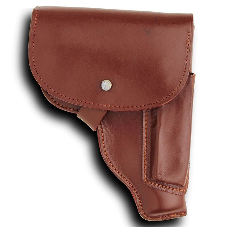 SIG Sauer P230 / Walther PP / Makarov Leather Hip Holster:These are original russet brown leather hip holsters. Used by military and police, they carry many small frame pistols and are light and compact enough for concealed carry. They are good for the SIG Sauer P230, Walther PP, Makarov, PPK, HSC and Mauser 1910. They have a spare magazine pouch and quick draw flap. Used, in very good condition.